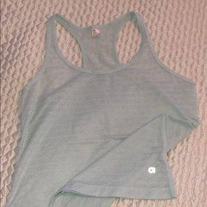 Light blue mesh workout tank